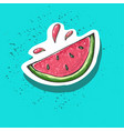 watermelon cartoon sticker sweet fruit label vector image vector image