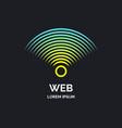 wireless network sign on dark background vector image vector image