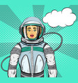woman with expression in cosmonaut suit vector image