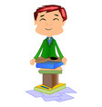 working man doing meditation vector image vector image