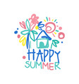 happy summer logo template colorful hand drawn vector image