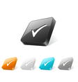 3d web button with check mark icon vector image vector image