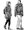 a couple casual urban pedestrians vector image vector image