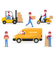 a set cartoon delivery man vector image