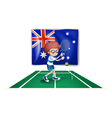 An Australian flag at the back of a tennis player vector image vector image