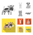 an unrealistic monochromeflat animal icons in set vector image