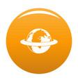 around the earth icon orange vector image