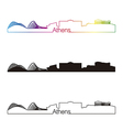 Athens skyline linear style with rainbow vector image