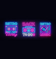 back to 90s neon poster collection card vector image