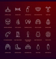 boxing line icons punchbag boxer gloves vector image vector image