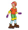 boy in rollerblades vector image