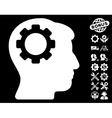 Brain Gear Icon with Tools Bonus vector image