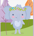cute animals elephant with flowers in head grass vector image