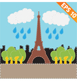 Eiffel tower with stitch style background - vector image vector image