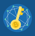 encryption key cryptocurrency icon flat design vector image vector image