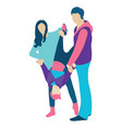 family with a son people concept flat icon vector image