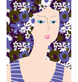 Fashion card with woman flower dress vector image vector image