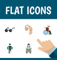 flat icon handicapped set of wheelchair audiology vector image