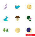 flat icon natural set of tributary pond lunar vector image vector image