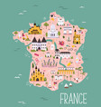 france hand drawn map with famous symbols vector image
