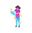 girl find in social chat just hearts in vr glasses vector image