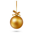 gold christmas ball with ribbon and bow on white vector image