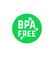 green simple bpa free logo on white vector image