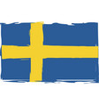 grunge sweden flag or banner vector image