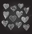 hand drawn hearts set vector image