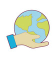hand with earth planet to environment care vector image vector image