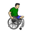 handicapped man on wheelchair vector image vector image