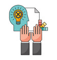 hands with light bulb and icons vector image