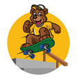happy bear kid playing skateboard vector image vector image