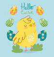 happy easter cute chicken and decorative eggs vector image