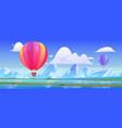 hot air balloons fly above mountain valley vector image vector image