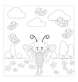 Kid in butterfly dress coloring page vector image