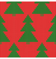 knitted christmas tree pattern red background vector image vector image