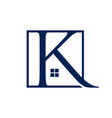 letter k real estate logo design template vector image vector image