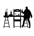man drunk silhouette with bottle in black vector image