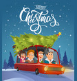 merry christmas family holidays on car vector image vector image