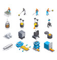 metallurgy isometric icon set vector image vector image
