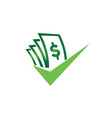 money with check mark for logo design good deal vector image vector image