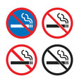 no smoking icon set smoking is prohibited signs vector image vector image