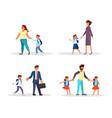 parents and children go to school vector image vector image