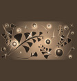 pattern of silver plant elements on a bronze vector image vector image
