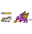 pixel art 8 bit objects dinosaur pony rainbow vector image vector image