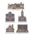 set isolated principality monaco landmarks vector image