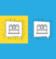 set line cake icon isolated on yellow and blue vector image vector image
