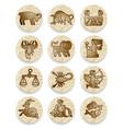set of icons with zodiac contour symbols vector image