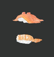 set of sushi japanese food sketch vector image vector image